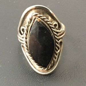 Silver tone adjustable ring with black stone